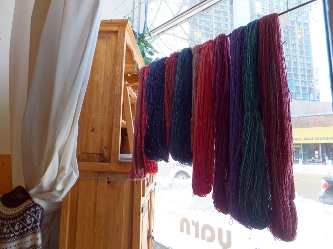 Such pretty yarn hanging in the window