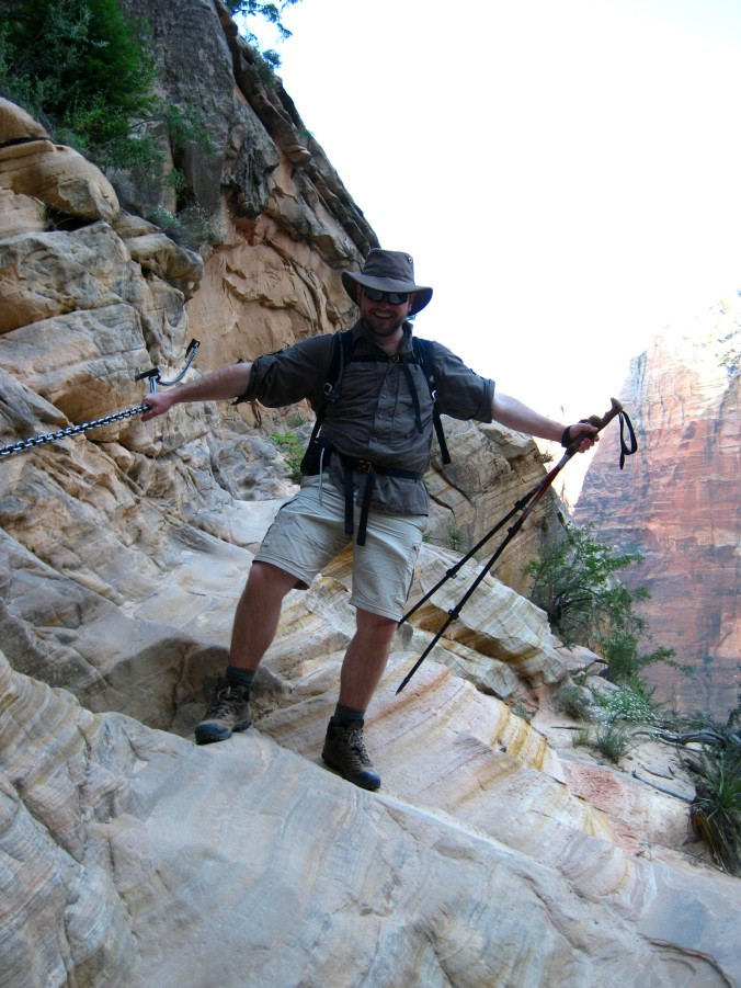 *major goof, do not attempt To get to Hidden Canyon we walked along a lip on the cliff face, holding onto chains to prevent a deadly fall in case our feet slipped
