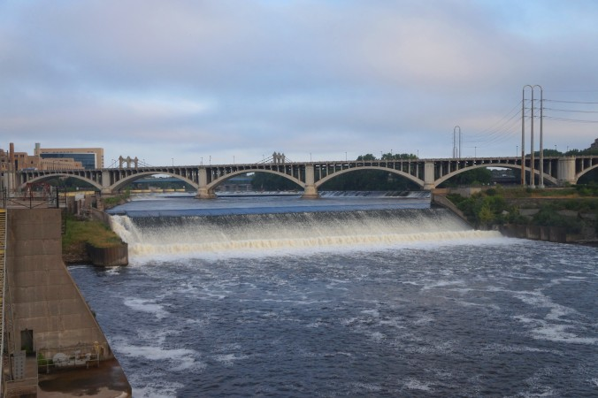 The Saint Anthony Falls are the most dramatic drop on the entire length of the Mississippi River